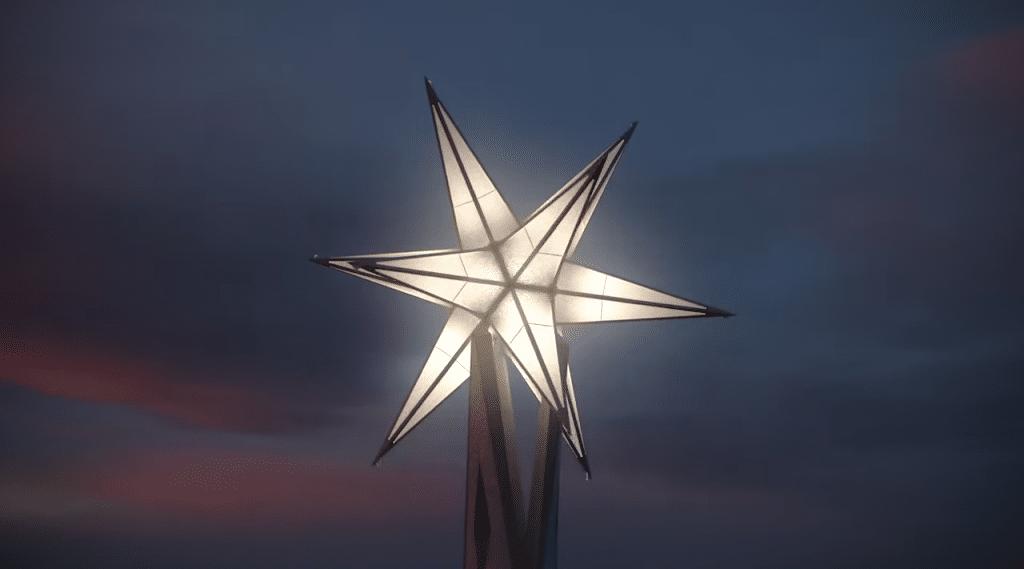La Sagrada Familia, a punto de ser coronada con su estrella luminosa